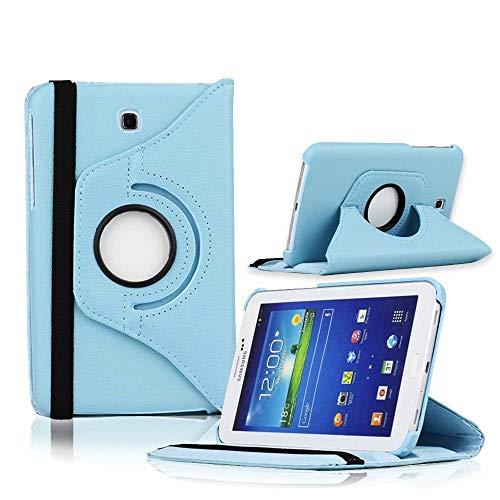 COOVY Funda para Samsung Galaxy Tab 3 7.0 GT-P3200 GT-P3210 SM-T210 SM-T211 Smart 360º Grados ROTACIÓN Cover Case Protectora Soporte | Color Azul Claro