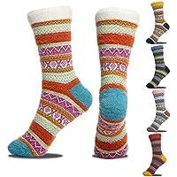5-Pack Sisosock Thick Knit Vintage Winter Warm Cozy Crew Socks