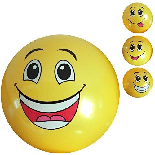 2 Stück PVC Ball Smiley 20 cm, Fussball, Spielball, Fußball, Lachgesicht, Wasserball, Beachball, Strandball