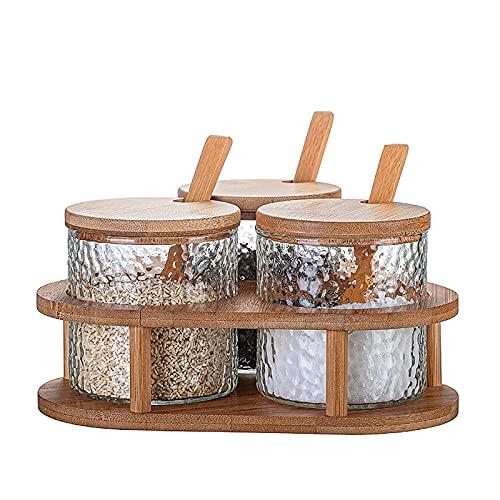 3 Pack Creature Containers Kruiden box Set met houten lepel deksel en bamboe lade om Sugar Salt Spices Pepper Storage op…