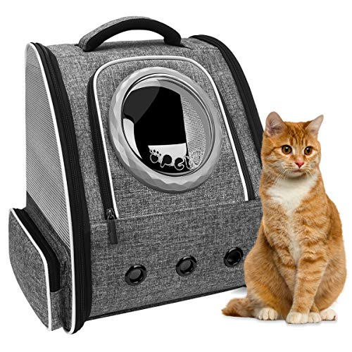 PENCCOR Large Cat Carrier Backpack, Foldable Pet Carrier Backpack for Cats and Small Dogs, Dog Backpack Carrier with Space Capsule Inner Safety Strap, Puppy Carrier Bag for Travel Camping (Grey)