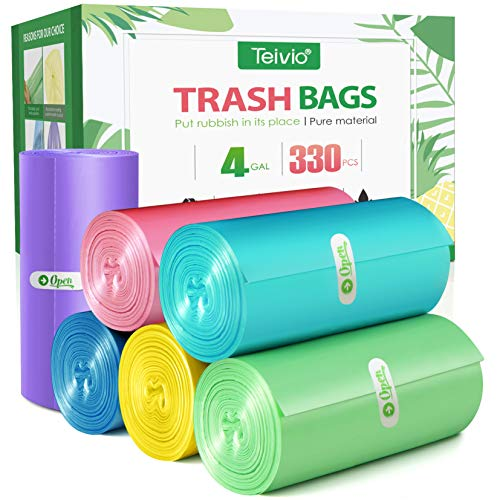 4 Gallon/330pcs Strong Trash Bags Colorful Clear Garbage Bags, Bathroom Trash Can Bin Liners, Small Plastic Bags for home office kitchen, fit 12-15 Liter, 3,3.5,4.5 Gal, Clear kitchen, Multicolor