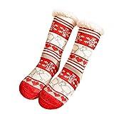 MOTOCO Flauschige Socken Weihnachtssocken Weihnachtssocken Thermosocken Neuheit Warm Gemütlich Warm Im Winter Für Frauen(B-Schneeflockenelch)