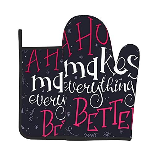Juego de manoplas y soportes para ollas, abrazos, guantes resistentes al calor, manos y protector de mesa para la madre, camping, antideslizante, cocina, utensilios de cocina