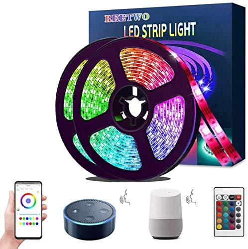 Striscia Led 10 Metri( 5 metri *2)Alexa, REETWO Nastri Multicolore 300 LEDs, Smart Wifi Telefono App Controllato, Kit Strisce RGB, Illuminazione Interno/Esterno, Impermeabile, Autoadesiva, Flessibile