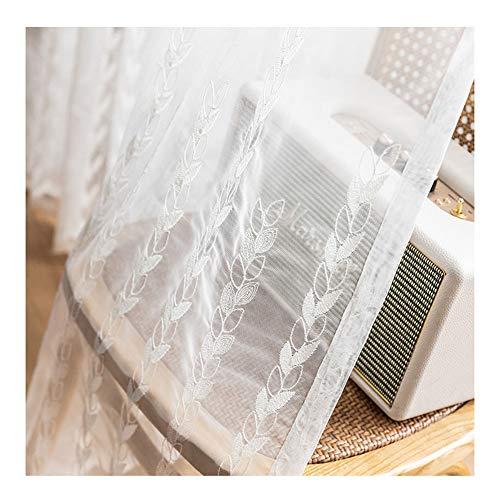 JUANstore Cortinas de Gasa Blanca con Bordado de Hojas Pequeñas - Cortinas Protegidas contra Perforaciones Y Privacidad para Decoración de Ventanas para Balcón Puerta Corrediza de Vidrio,w170x