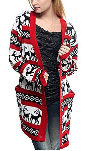 Womens Oversized Christmas Reindeer Cardigan (X-Large, Red Reindeer Cardigan)