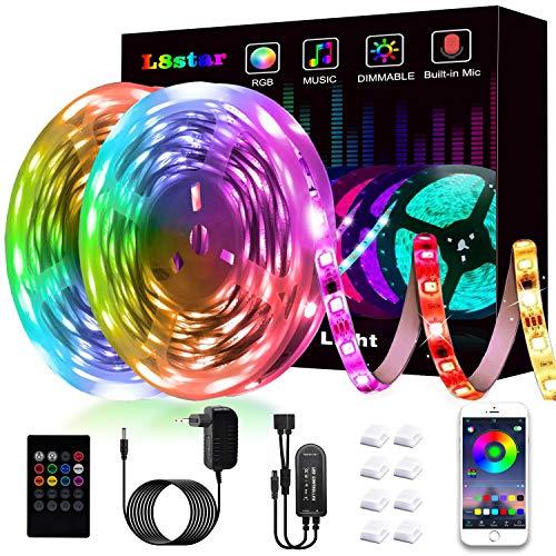 L8star Ruban à LED,LED Ruban 10M/32.8FT 300 LED 5050 RGB SMD Multicolore Bande LED Lumineuse avec Télécommande changement Synchroniser avec Rythme de Musique