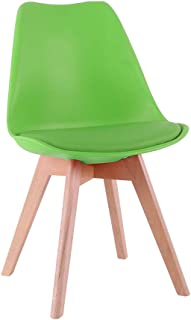 Cocina y comedor sillas de sala, comedor retro sillas laterales siglo moderno de los mediados del amortiguador durable con patas de madera maciza, PU blanca,Verde