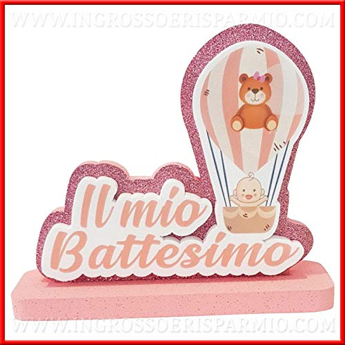 Ingrosso e Risparmio Poliestireno 3D Il mio Bautizo Rosa Glitter con globo aerostático, niña y oso de peluche, decoración para mesa, tarta, centro de mesa para mujer