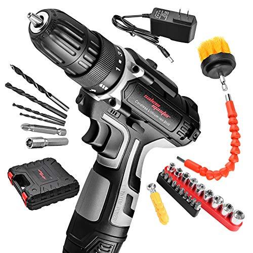 SALEM MASTER Cordless Drill Driver Kit, 12V Power Drill, 23Nm, 3/8'' Keyless Chuck, 18+1 Clutch, 2 Speeds, 27 Pcs Bit, Built-in LED light, Compact Electric Screw Driver for Wall, Wood, Bricks, Metal