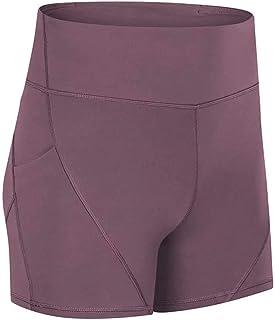 Yoga High Waist Tight Sports Shorts Female Fitness Training Hip Elastic Three-Point Pants,Brown(8)