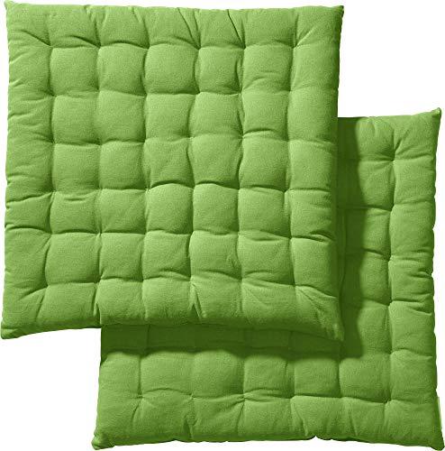 REDBEST Stuhlkissen, Stuhlauflage, Sitzkissen Uni 2er-Pack grün, Größe 40x40x3 cm - gesteppt, mit glatten, strapazierstarkem Gewebe, 100% Baumwolle (weitere Farben)