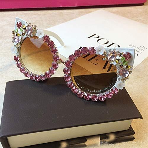 N\A Gafas de Sol de Moda Ojo de Gato Gafas de Sol Hechas a Mano del Rhinestone de la Flor de Las Mujeres de la Vendimia Redonda con Pearl Beach Party Gafas de Moda Gafas de Sol (Lenses Color : C5)