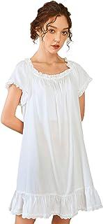 Nanxson Chemise de Nuit Femmes Coton Vêtements de Nuit Été Manche Courte Robe de Nuit Vintage Pyjama