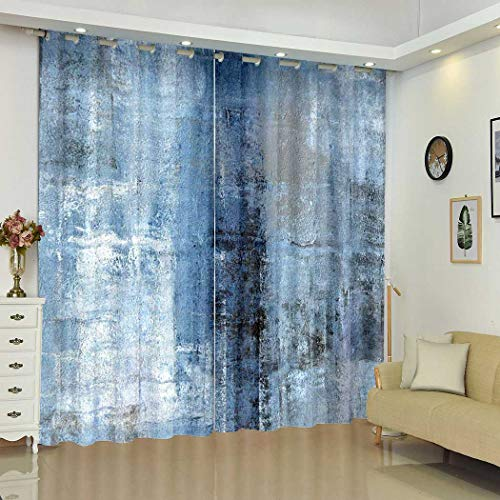 """Qoalips Gray Blackout Curtains, Blue and Grey Abstract Art Soundproof Window Curtains for Bedroom Living Room Window Drapes 2 Panel Set 108"""" W x 80"""" L"""