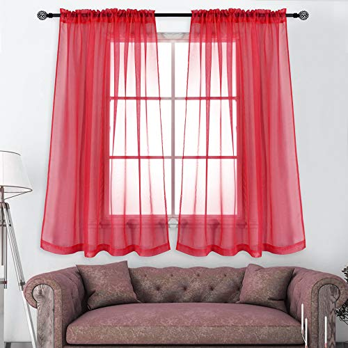 KEQIAOSUOCAI Rod Pocket Semi Sheer Red Curtains for Small Windows 2 Panels Voile Window Sheers Drapes Sets for Kitchen Bathroom Basement Each is 52 Inch x 45 Inch