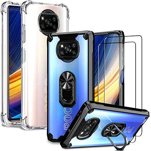IMBZBK [4 PCS] 2pcs für Xiaomi Poco X3 Pro/Poco X3 NFC Hülle + 2pcs Panzerglas Schutzfolie, [Mehrfachauswahl] [Anti-Fall] 360 Grad Metalldrehring Hülle und Kristallklar TPU Schutzhülle