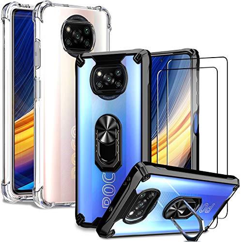 IMBZBK [4 PCS] 2pcs Funda para Xiaomi Poco X3 Pro/Poco X3 NFC + 2pcs Protector Pantalla Cristal Templado, [opción múltiple] [Anti-caída] Caja del teléfono con Anillo de Metal Giratorio & Transparente
