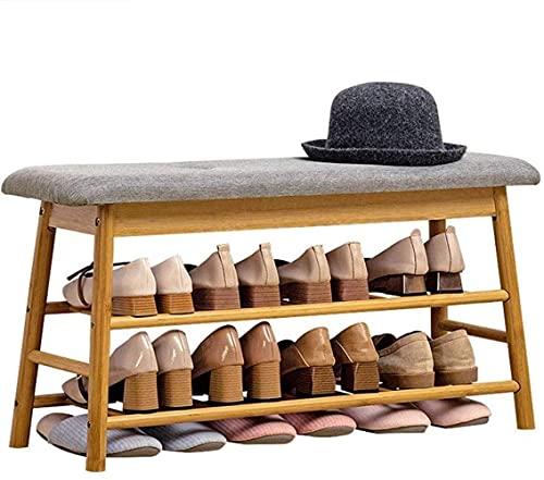 ZAIHW Estante de bambú para Banco de Zapatos, Banco de Almacenamiento de 2 Niveles y 1 Compartimento Oculto, para Entrada, Pasillo, Dormitorio y Armario Taburete para Cambiar Zapatos