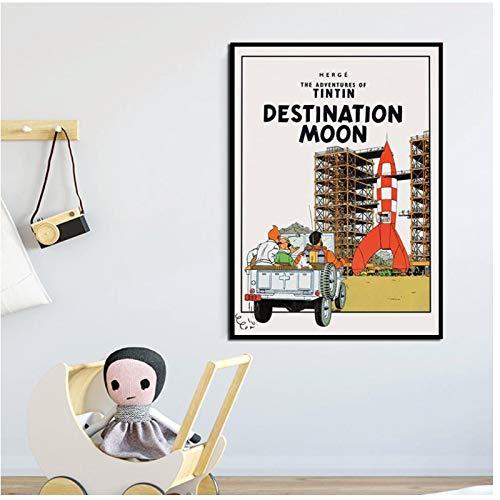 FACAIA Pôster moderno de desenho animado As aventuras de Tintim arte de parede nórdica quarto de crianças decoração de casa impressão HD - 50 x 70 cm sem moldura