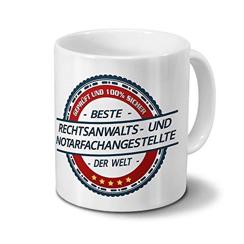 printplanet Tasse mit Beruf Rechtsanwalts- und Notarfachangestellte - Motiv Berufe - Kaffeebecher, Mug, Becher, Kaffeetasse - Farbe Weiß