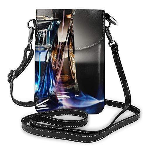Bolso ligero del teléfono celular del cuero de la PU, botella de perfume pequeño Crossbody bolsos bolso de hombro cartera Pounch bolso para las mujeres, color Negro, talla Talla única