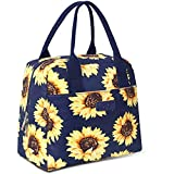 DIIG Lunch Box for Women, Insulated Lunch Bags for Women, Large Cooler Tote For Work, Floral Reusable Snack Bag with Pocket, Sunflower Printing/Gray/Black/White (Sunflower/Navy)