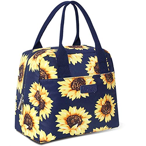DIIG Lunch Box for Women Insulated Lunch Bags for Women Large Cooler Tote For Work Floral Reusable Snack Bag with Pocket Sunflower PrintingGrayBlackWhite SunflowerNavy