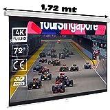 """Pantalla Manual Mural de 72"""" 16:9, Dimensiones de la Tela 159 x 89 cm, cajetin de Acero 1,72 Metros, Pantalla para proyector Compatible con 4K, 16:9 (72 Pulgadas 16:9)"""