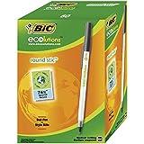 BIC Round Stic ECOlutions bolígrafos de punta media (1,0 mm) – Negro, Caja de 60 unidades