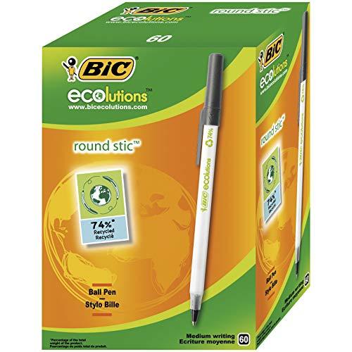 BIC Kugelschreiber ECOlutions Round Stic (0,4 mm) Schachtel à 60 Stück, schwarz