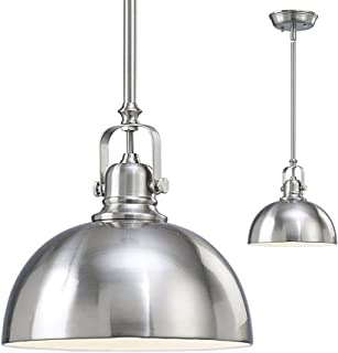 Kitchen and Bar 1 Light Mini Pendant with Brushed Nickel Metal Shade