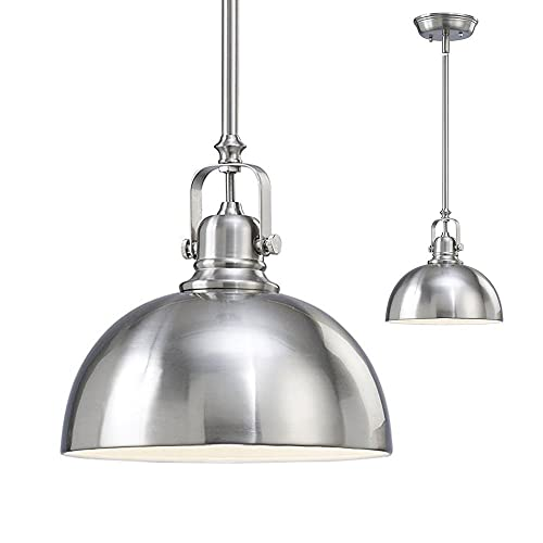 Stainless Steel Pendant Light kitchen and bar 1 light mini pendant with brushed nickel metal shade