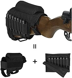 GVN Portable Adjustable Tactical Buttstock Shell Holder Cheek Rest Pouch Holder Pack With Ammo Carrier Case Black