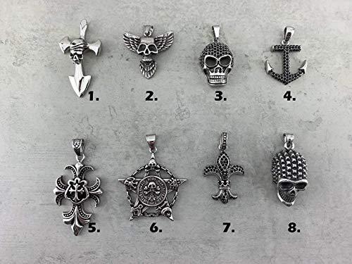 Halskettenanhänger Kettenanhänger Anhänger für Halskette Lederkette, Männer Herren Skull Totenkopf Schädel Kreuz Anker Lilie Thors Hammer silber Edelstahl S99