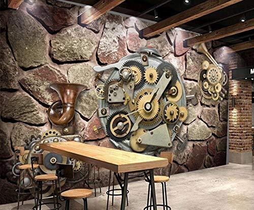 Fototapete 3D Effekt Tapete Zahnrad Metallmauerwerk Vliestapete 3D Tapeten Wanddeko Wandbilder Wohnzimmer