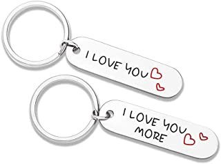 Couple Keychains Set I Love You More Christmas Gifts for Him And Her Anniversary Wedding Gift for Girlfriend Boyfriend Husband Wife Best Friend Gifts Long Distance Relationship Valentine (2pcs)