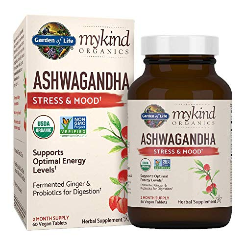 Organic Ashwagandha Stress, Mood & Energy Support Supplement with Probiotics & Ginger Root for Digestion - Garden of Life mykind Organics - Vegan, Gluten Free, Non GMO – 2 Month Supply, 60 Tablets