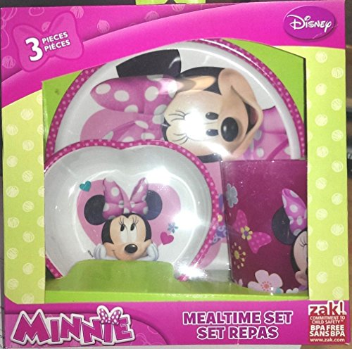 Minnie Mouse 3 Piece Mealtime Dish Set Disney Plate Cup & Bowl Collectible