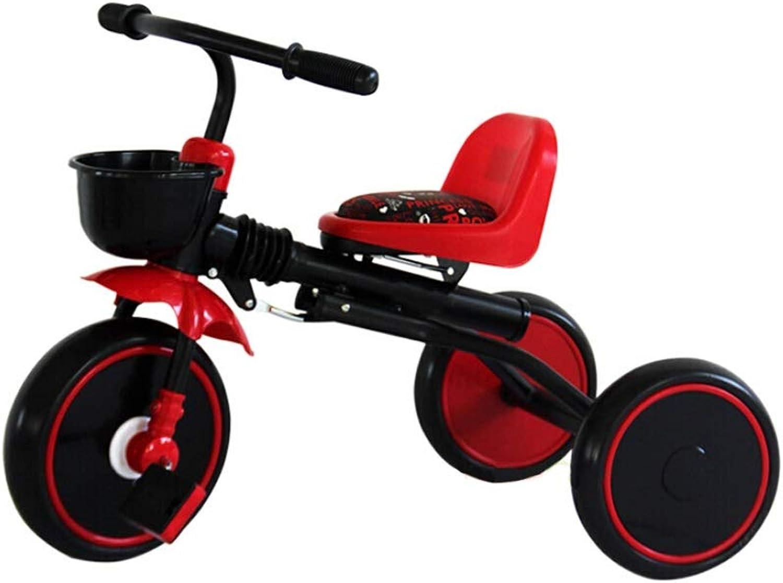 NBgy Tricycle, Tricycle pour Enfants Multi-Fonctions pour Siège Confortable, Facile à Replier, 2-5 Ans, Tricycle Extérieur pour Bébé, Vert (Couleur   Rouge)