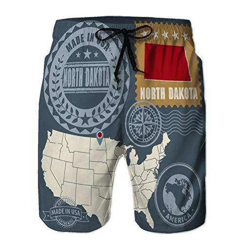 Xunulyn Shorts de Playa para Hombres Shorts de Playa Bañadores Transpirables Trunks Abstractos Sellos Postales establecidos Nombre Mapa Norte Dakota USA