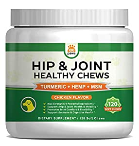 Hip & Joint Supplement for Dogs - Hemp Oil Infused Soft Chews Dog Treats w/Glucosamine, Turmeric, Chondroitin, MSM & Omega 3 6 9 - Supports Pet Mobility & Pain Relief - 120 Treat Bites