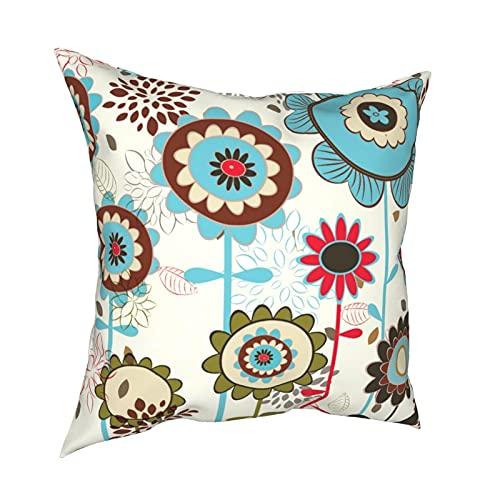 Reebos Funda de almohada de 45,7 x 45,7 cm, bonita funda de cojín decorativa para sofá, silla, dormitorio, diseño floral, color azul turquesa