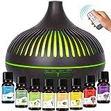 GeeRic Difusor de Aceites Esenciales 500ML, 8 * 10ML Aceites Esenciales + Humidificador Ultrasónico Purificador de Aire Difusor de Aroma Aceites Perfumados Nebulizador LED de 7 Colores para Yoga