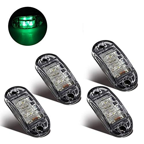 LED Seitenmarkierungsleuchten 12V/24V für Auto LKW Anhänger SUV Van Wasserdicht Markierungsleuchten E-geprueft-WildAuto (Grün 4pcs)