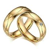 Amody 1 Paio I Suoi Anelli di Fidanzamento in Oro e Acciaio da Sposa per Le Coppie Oro Zirconia cubica Lucido Anelli Donna 12 & Uomo 20