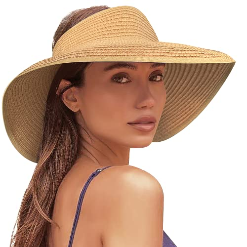 Sun Visor Hats for Women Wide Brim Straw Hats for Women Packable Foldable Travel Ponytail Beach Hats for Women UV UPF50+