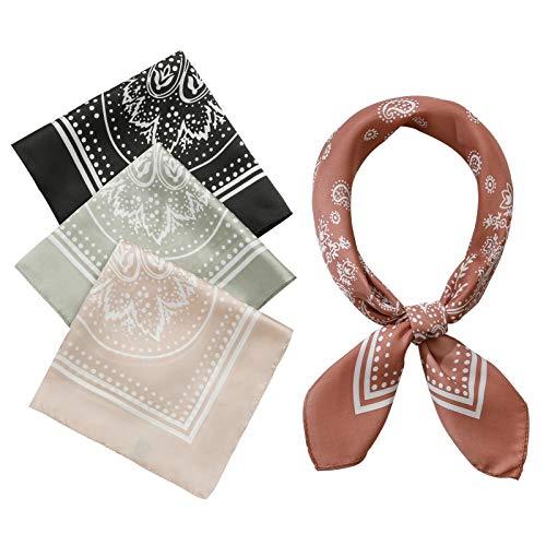 4 Stück 66,5 x 66,5 cm Seiden-Haptik Satin quadratischer Kopf Schals für Frauen Hals Haar Halstücher Haarbandanas - Schwarz -