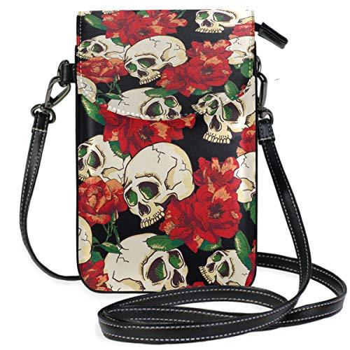 ZZKKO Blumenmuster Sugar Skull Retro Mini Umhängetasche Handtasche Handtasche Leder für Frauen Casual Reisen Wandern Camping